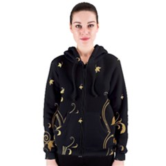 Golden Flowers And Leaves On A Black Background Women s Zipper Hoodie