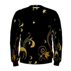 Golden Flowers And Leaves On A Black Background Men s Sweatshirt