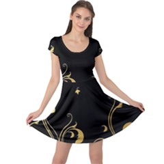 Golden Flowers And Leaves On A Black Background Cap Sleeve Dresses
