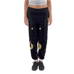 Golden Flowers And Leaves On A Black Background Women s Jogger Sweatpants