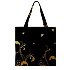 Golden Flowers And Leaves On A Black Background Zipper Grocery Tote Bag