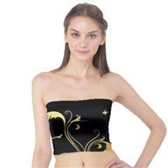 Golden Flowers And Leaves On A Black Background Tube Top