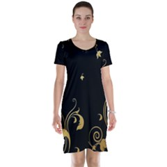 Golden Flowers And Leaves On A Black Background Short Sleeve Nightdress