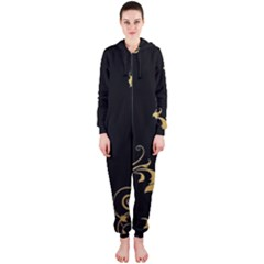 Golden Flowers And Leaves On A Black Background Hooded Jumpsuit (ladies)