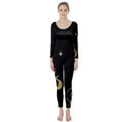 Golden Flowers And Leaves On A Black Background Long Sleeve Catsuit