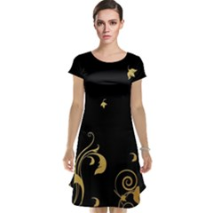 Golden Flowers And Leaves On A Black Background Cap Sleeve Nightdress