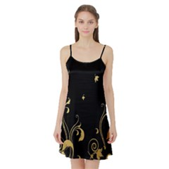 Golden Flowers And Leaves On A Black Background Satin Night Slip