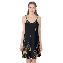 Golden Flowers And Leaves On A Black Background Camis Nightgown