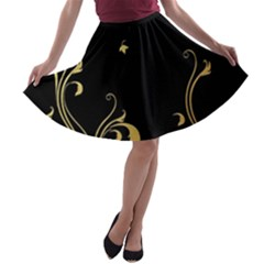 Golden Flowers And Leaves On A Black Background A-line Skater Skirt