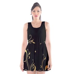 Golden Flowers And Leaves On A Black Background Scoop Neck Skater Dress