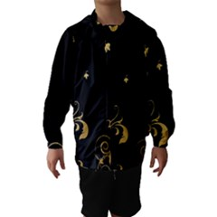 Golden Flowers And Leaves On A Black Background Hooded Wind Breaker (Kids)