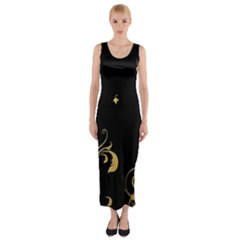 Golden Flowers And Leaves On A Black Background Fitted Maxi Dress