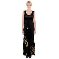 Golden Flowers And Leaves On A Black Background Maxi Thigh Split Dress