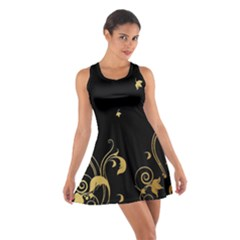 Golden Flowers And Leaves On A Black Background Cotton Racerback Dress