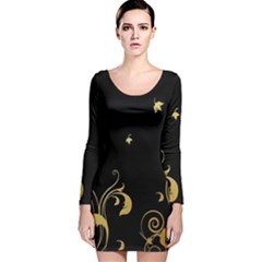 Golden Flowers And Leaves On A Black Background Long Sleeve Velvet Bodycon Dress