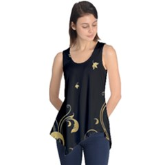 Golden Flowers And Leaves On A Black Background Sleeveless Tunic