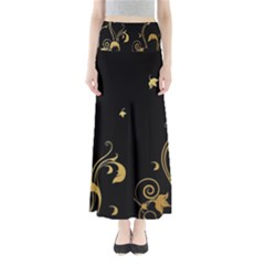 Golden Flowers And Leaves On A Black Background Maxi Skirts