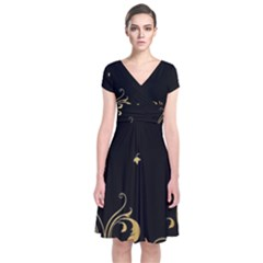 Golden Flowers And Leaves On A Black Background Short Sleeve Front Wrap Dress