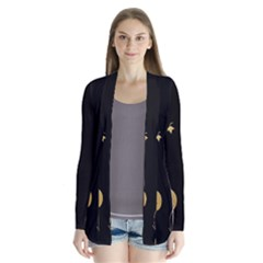 Golden Flowers And Leaves On A Black Background Cardigans