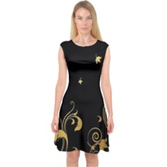 Golden Flowers And Leaves On A Black Background Capsleeve Midi Dress