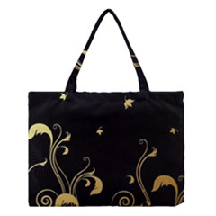 Golden Flowers And Leaves On A Black Background Medium Tote Bag
