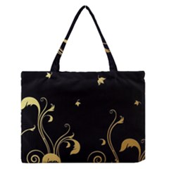 Golden Flowers And Leaves On A Black Background Medium Zipper Tote Bag