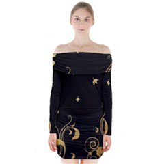 Golden Flowers And Leaves On A Black Background Long Sleeve Off Shoulder Dress