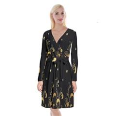 Golden Flowers And Leaves On A Black Background Long Sleeve Velvet Front Wrap Dress