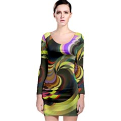 Spiral Of Tubes Long Sleeve Bodycon Dress