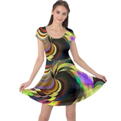 Spiral Of Tubes Cap Sleeve Dresses