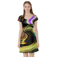 Spiral Of Tubes Short Sleeve Skater Dress