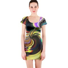 Spiral Of Tubes Short Sleeve Bodycon Dress