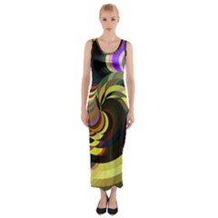 Spiral Of Tubes Fitted Maxi Dress
