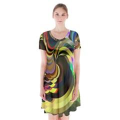 Spiral Of Tubes Short Sleeve V Neck Flare Dress