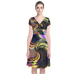 Spiral Of Tubes Short Sleeve Front Wrap Dress