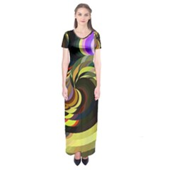 Spiral Of Tubes Short Sleeve Maxi Dress
