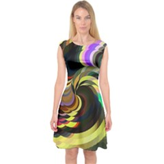 Spiral Of Tubes Capsleeve Midi Dress