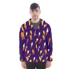 Seamless Cartoon Ice Cream And Lolly Pop Tilable Design Hooded Wind Breaker (Men)