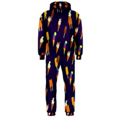 Seamless Cartoon Ice Cream And Lolly Pop Tilable Design Hooded Jumpsuit (Men)
