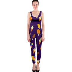 Seamless Cartoon Ice Cream And Lolly Pop Tilable Design OnePiece Catsuit
