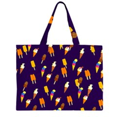 Seamless Cartoon Ice Cream And Lolly Pop Tilable Design Zipper Large Tote Bag