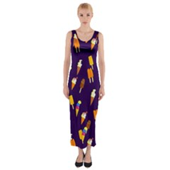Seamless Cartoon Ice Cream And Lolly Pop Tilable Design Fitted Maxi Dress