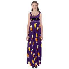 Seamless Cartoon Ice Cream And Lolly Pop Tilable Design Empire Waist Maxi Dress
