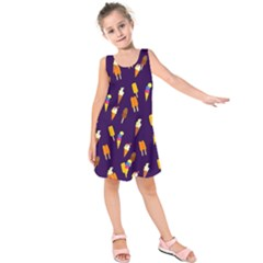 Seamless Cartoon Ice Cream And Lolly Pop Tilable Design Kids  Sleeveless Dress