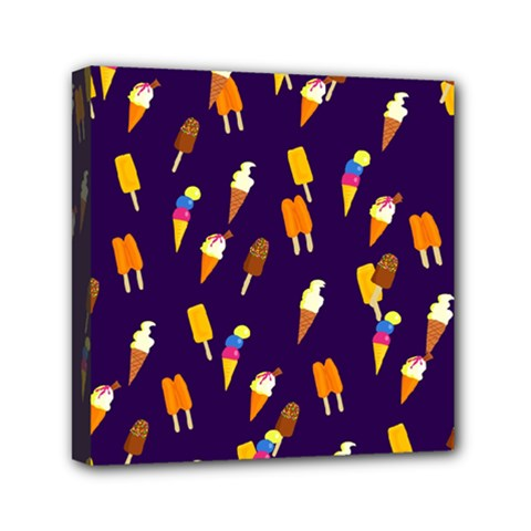Seamless Cartoon Ice Cream And Lolly Pop Tilable Design Mini Canvas 6  x 6