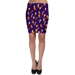 Seamless Cartoon Ice Cream And Lolly Pop Tilable Design Bodycon Skirt
