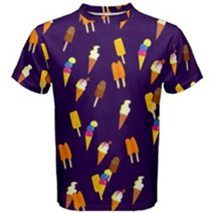 Seamless Cartoon Ice Cream And Lolly Pop Tilable Design Men s Cotton Tee