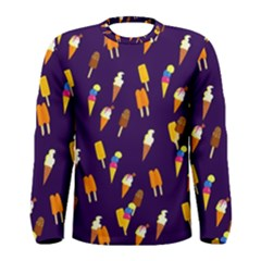 Seamless Cartoon Ice Cream And Lolly Pop Tilable Design Men s Long Sleeve Tee