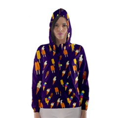 Seamless Cartoon Ice Cream And Lolly Pop Tilable Design Hooded Wind Breaker (women)
