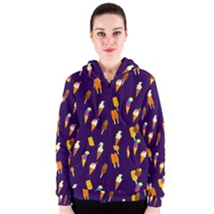 Seamless Cartoon Ice Cream And Lolly Pop Tilable Design Women s Zipper Hoodie
